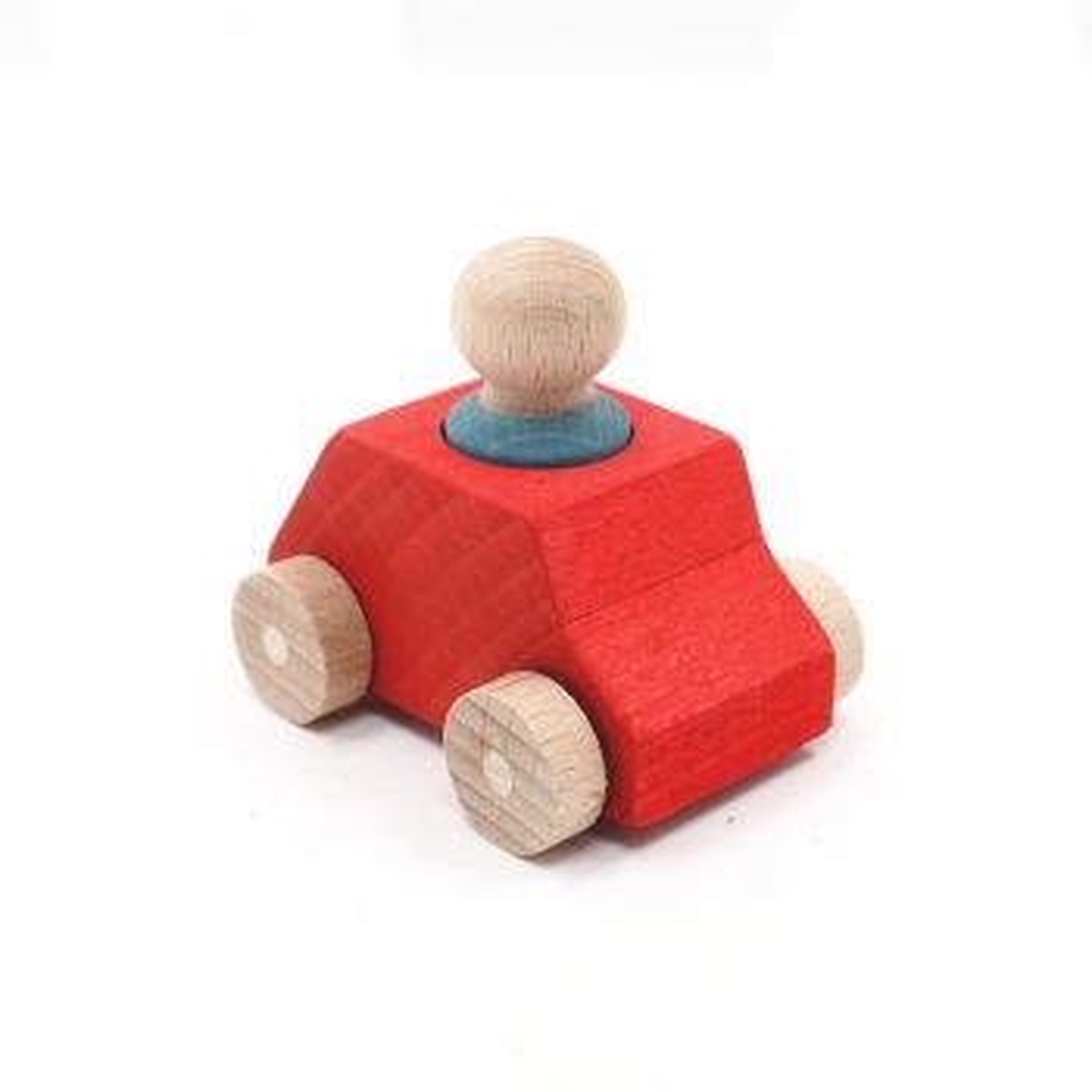 lubu Holzauto und Figur Rot