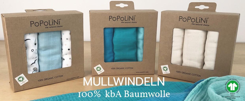 popolini Mullwindeln 100% kbA Baumwolle